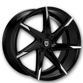 """22"""" Staggered Lexani Wheels CSS-7 Black W Machined Tips Rims"""