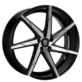 "22"" Staggered Lexani Wheels CSS-7 Black Machined Rims"
