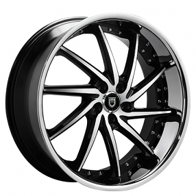 "20"" Staggered Lexani Wheels Artemis Black Machined W SS Lip Rims"