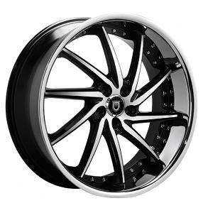 "22"" Staggered Lexani Wheels Artemis Black Machined W SS Lip Rims"