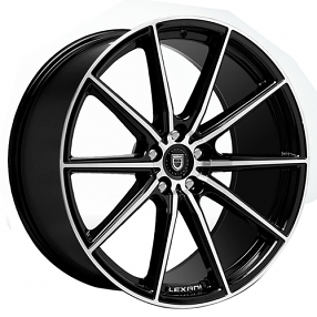 "22"" Staggered Lexani Wheels CSS-10 Black Machined Rims"