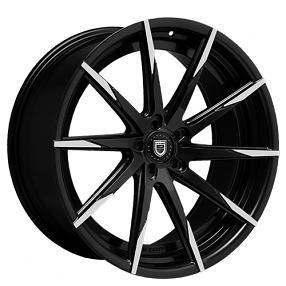"22"" Lexani Wheels CSS-15 Black W Machined Tips Rims"