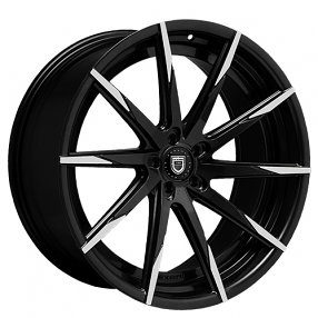 "22"" Staggered Lexani Wheels CSS-15 Black W Machined Tips Rims"
