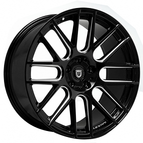 "22"" Staggered Lexani Wheels CSS-8 Black W CNC Accents Rims"