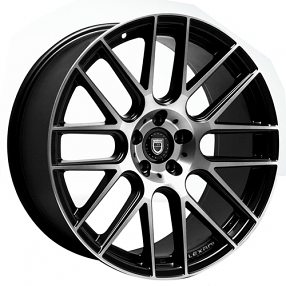 "20"" Staggered Lexani Wheels CSS-8 Black Machined Rims"