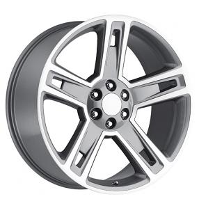 "24"" 2015 Chevy Silverado 1500 Wheels Grey Machined OEM Replica Rims"
