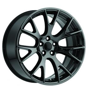 "20"" Staggered Dodge Challenger Hellcat Wheels Black Chrome OEM Replica Rims"
