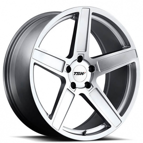 "19"" Staggered TSW Wheels Ascent Matte Titanium Silver Rims"