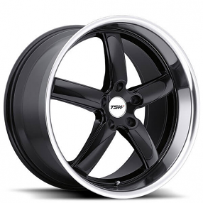 "20"" Staggered TSW Wheels Stowe Gloss Black with Mirror Cut Lip Rims"