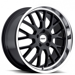 "20"" Staggered TSW Wheels Tremblant Gloss Black with Mirror Cut Lip Rims"