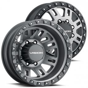 """17"""" Vision Wheels 408 Manx 2 Dually Satin Grey Off-Road Rims"""