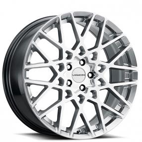 "17"" Vision Wheels 474 Recoil Hyper Silver Rims"