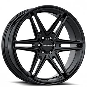 "22"" Vision Wheels 476 Wedge Gloss Black Rims"
