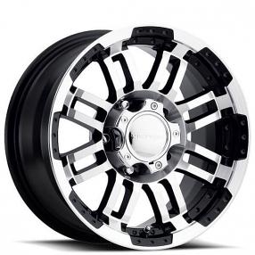 "16"" Vision Wheels 375 Warrior Gloss Black Machined Off-Road Rims"