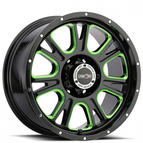 """17"""" Vision Wheels 399 Fury Gloss Black Milled with Green Accents Off-Road Rims"""