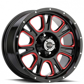 """17"""" Vision Wheels 399 Fury Gloss Black Milled with Red Accents Off-Road Rims"""