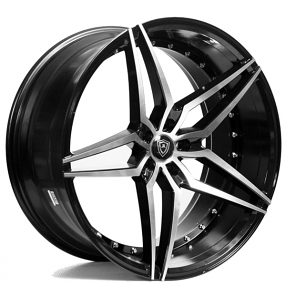 "22"" Staggered Marquee Wheels 3259 Black Machined Extreme Concave Rims"
