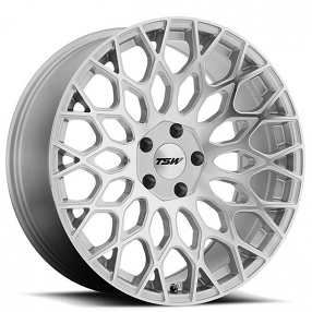 """20"""" Staggered TSW Wheels Oslo Silver with Mirror Cut Face Rotary Forged Rims"""