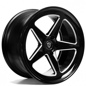 "20"" Staggered Marquee Wheels 9535 Black Milled Rims"