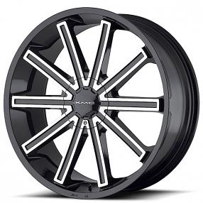"20"" KMC Wheels KM681 Nerve Gloss Black Machined Rims"