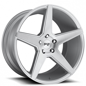 "20"" Staggered Niche Wheels M184 Carini Silver Brush Rims"