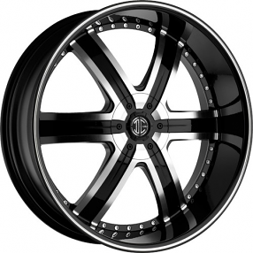 "20"" 2Crave Wheels No.4 Glossy Black Machined Face Black Lip Rims"