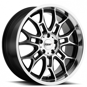 "20"" Staggered TSW Wheels Yas Gloss Black with Mirror Cut Face and Lip Rims"