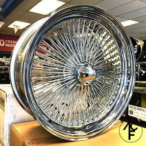 "22x8"" Wire Wheels Standard 150-Spoke Straight Lace Chrome Rims"
