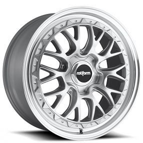 """19"""" Staggered Rotiform Wheels R155 LSR Silver with Machined Lip Rims"""
