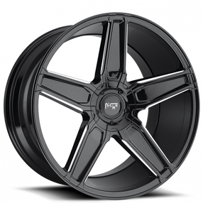 "20"" Staggered Niche Wheels M180 Cannes Gloss Black Milled Rims"