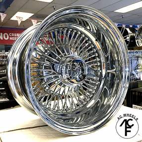 "13x7"" Wire Wheels Reverse 72-Spoke Straight Lace Chrome Rims"