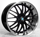"22"" MRR GT1 Black W/ Chrome lip Wheels Staggered Rims For BMW"