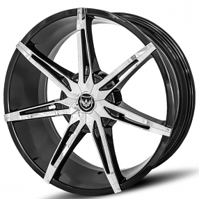 "22"" Diablo-Gianna Wheels Flare Black with Chrome Inserts Rims"