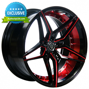 "20"" Marquee Wheels 3259 Black Red Inner Extreme Concave Rims"