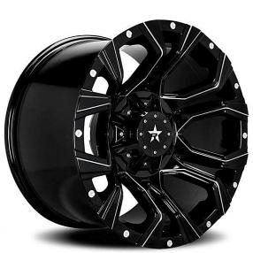 "20"" RBP Wheels 64R Widow Gloss Black Milled Off-Road Rims"