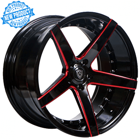 "20"" Staggered MQ Wheels 3226 Gloss Black with Red Milled Extreme Concave Rims"