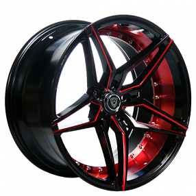 "22"" Staggered MQ Wheels 3259 Black Red Inner Extreme Concave Rims"