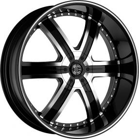 "24"" 2Crave Wheels No.4 Glossy Black Machined Face Black Lip Rims"