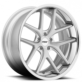 "18"" TSW Wheels Portier Silver Brushed Face with Chrome Stainless Lip Rims"