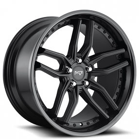 """20"""" Staggered Niche Wheels M194 Methos Matte Black Face with Gloss Black Lip Rims"""