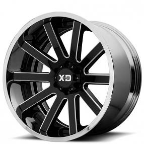 "20"" XD Wheels XD200 Heist Gloss Black Milled with Chrome Lip Off-Road Rims"