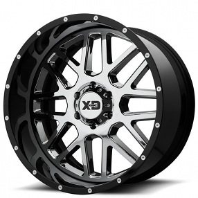 """22"""" XD Wheels XD201 Grenade Chrome with Black Milled Lip Off-Road Rims"""