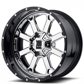 """20"""" XD Wheels XD202 Buck 25 Chrome with Black Milled Lip Off-Road Rims"""