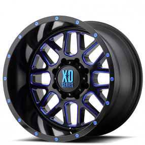"""20"""" XD Wheels XD820 Grenade Satin Black Milled with Blue Tinted Off-Road Rims"""