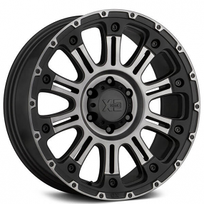 """20"""" XD Wheels XD829 Hoss 2 Satin Black Machined with Gray Tint Clear Coat Off-Road Rims"""