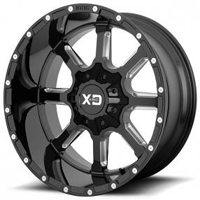 "20"" XD Wheels XD838 Mammoth Gloss Black Milled Off-Road Rims"