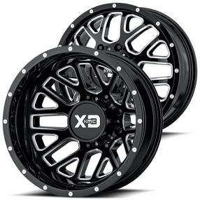 "20"" XD Wheels XD843 Grenade Dually Gloss Black Milled Off-Road Rims"