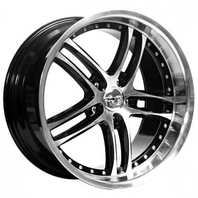 """19"""" Staggered XIX Wheels X15 Black Machine with Polished Lip Flow Formed Rims"""